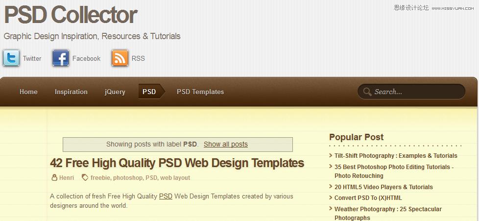 10個設計師必須知道的國外PSD資源站