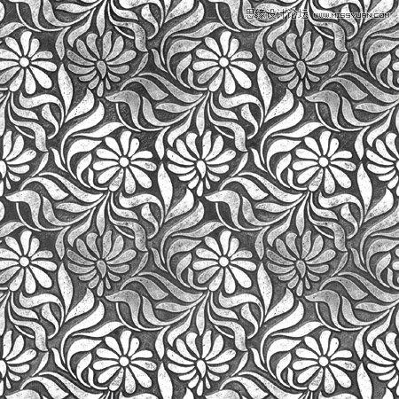 photoshop制作金属雕刻花纹的立体字教程