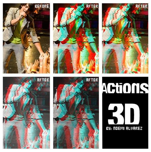 数码人像添加3D电影效果PS动作