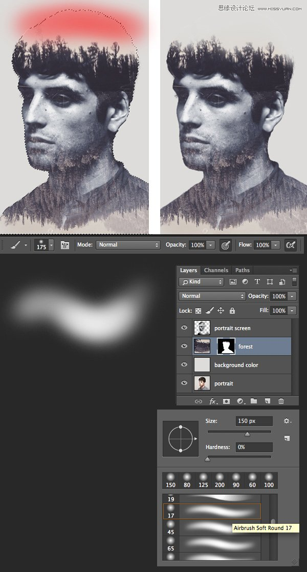 Photoshop合成創意的人像雙重曝光效果圖