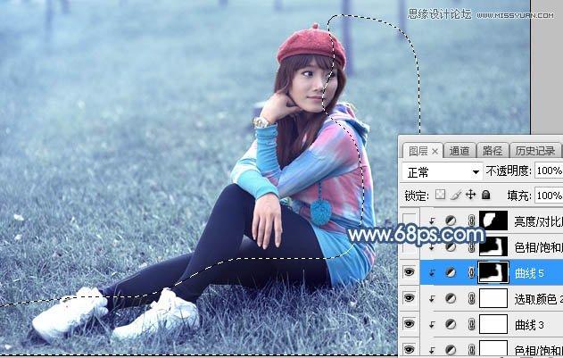 Photoshop调出草地女孩唯美蓝色艺术效果,PS教程,思缘教程网
