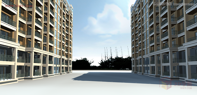 3dmax给室外建筑楼房单体渲染效果(3)