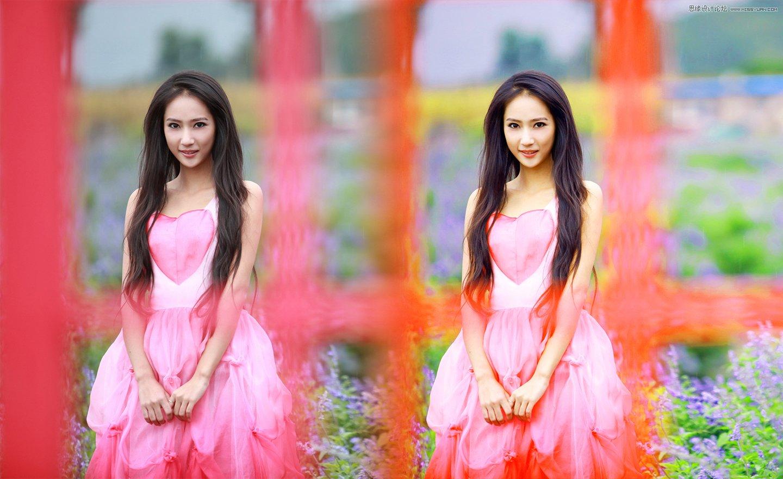 Photoshop调出花园女孩清新通透肤色效果图,PS教程,思缘教程网