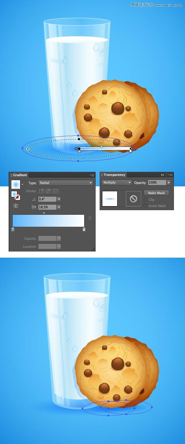 Illustrator繪製逼真的牛奶和燕麥餅乾