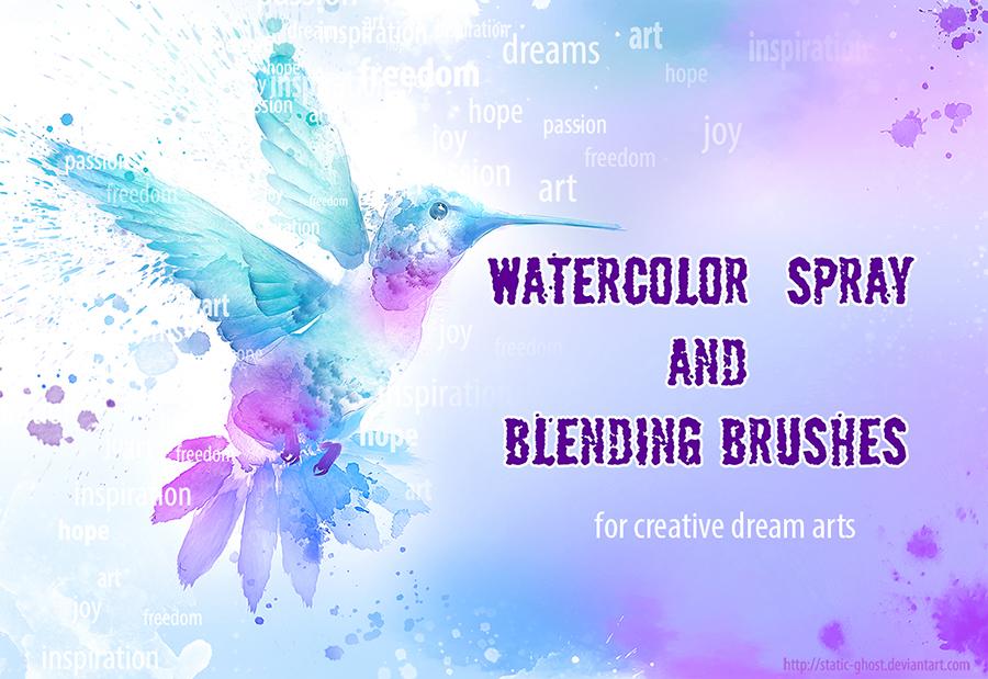 水彩喷溅和涂鸦效果PS笔刷