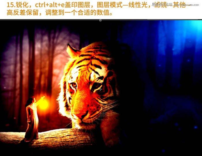 Photoshop合成森林中在老虎面前打灯的女孩,PS教程,思缘教程网