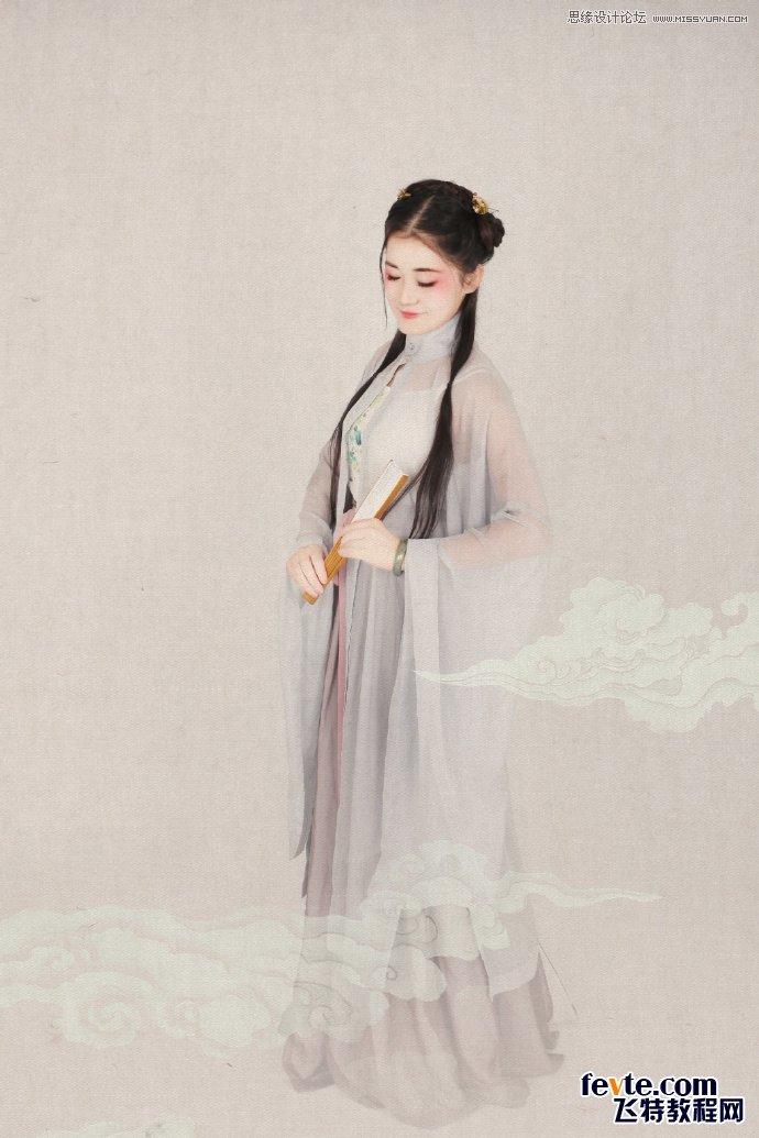Photoshop制作中国风古典人像签名效果图,PS教程,思缘教程网