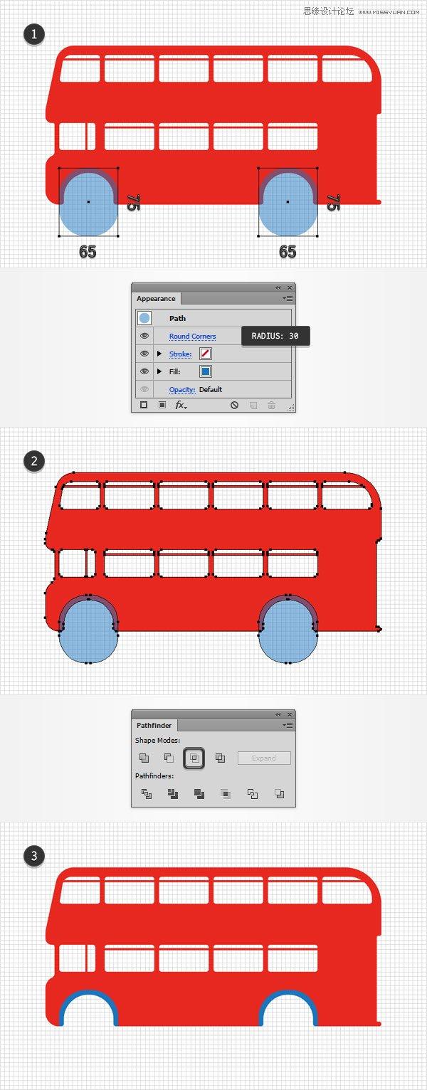 illustrator绘制红色立体风的双层大巴车图标 - 矢量