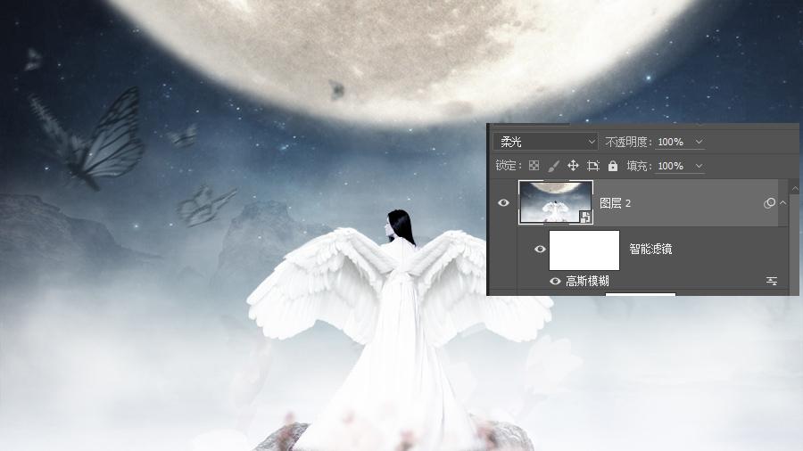 Photoshop合成月光下揮着翅膀的女孩