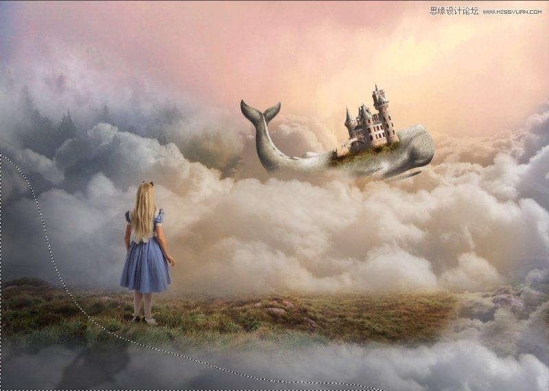 Photoshop合成在雲端飛翔的鯨魚城堡場景