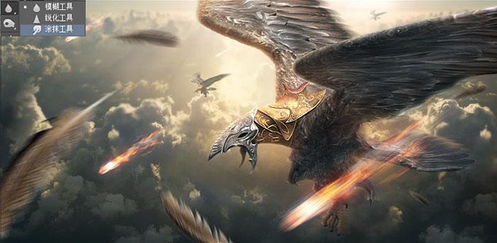 Photoshop合成超酷的戰爭雄鷹場景效果