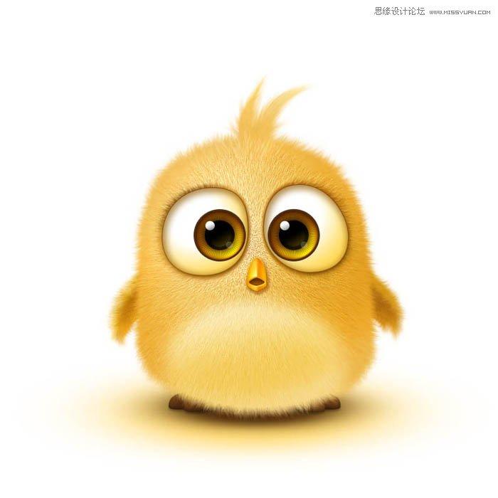 Photoshop繪製可愛的毛茸茸小黃鳥