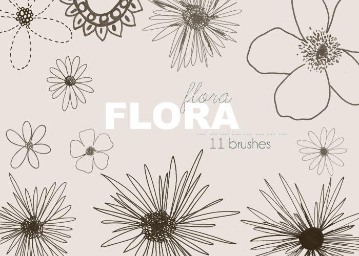 手绘线描花朵装饰PS笔刷
