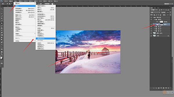Photoshop給海邊碼頭照片添加夕陽雲彩效果
