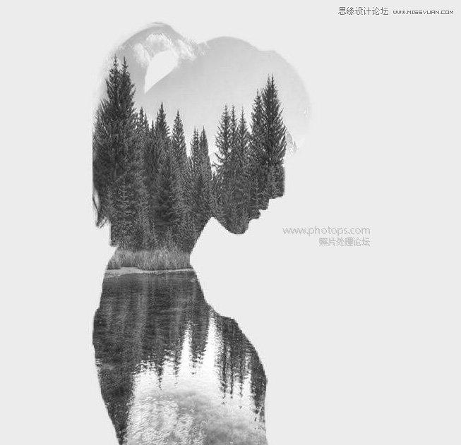 photoshop合成人物和风景黑白二次曝光效果(3)