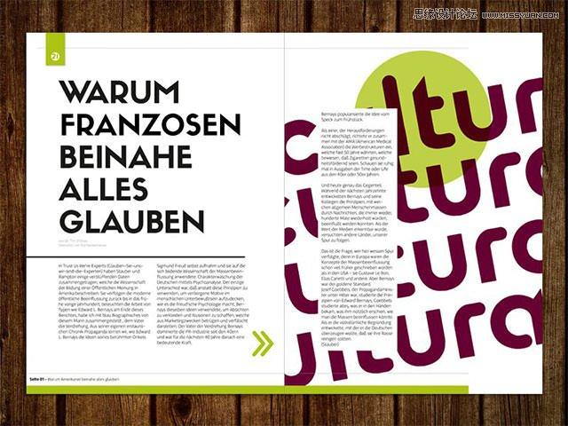 在下面这个杂志的版面设计中,标题使用了两种字体,正文使用了无衬线