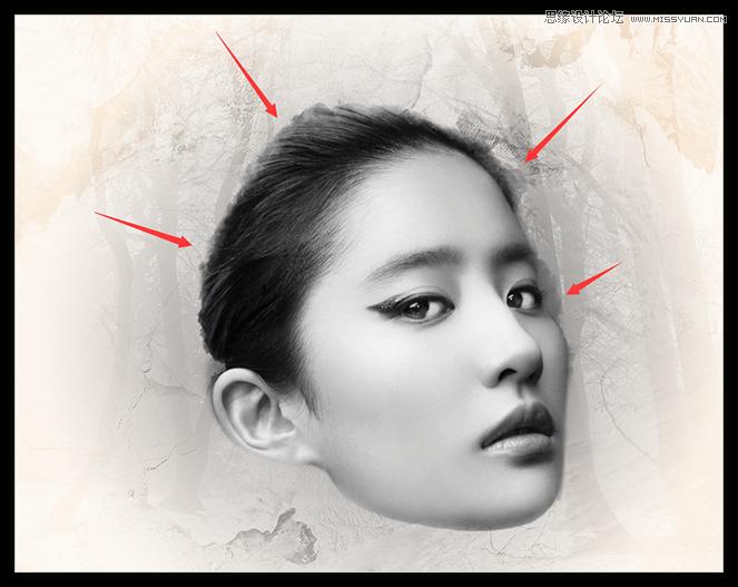 Photoshop合成古典風格的美女頭像效果