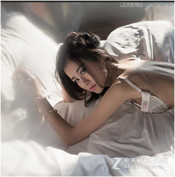 Photoshop调出室内美女照片冷色艺术效果,PS教程,思缘教程网