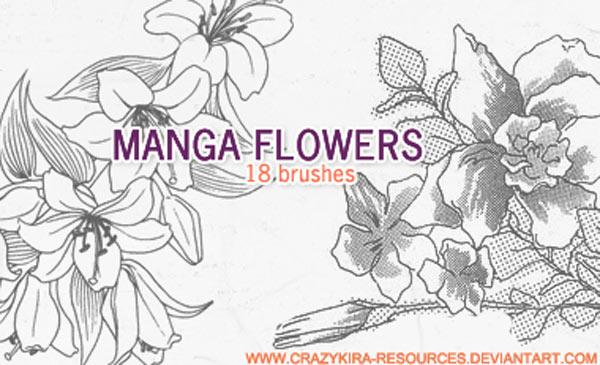 时尚线描花朵装饰PS笔刷