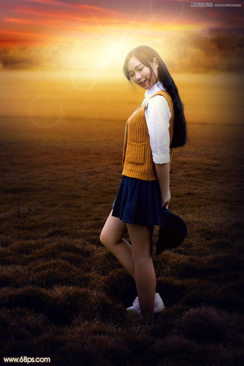 photoshop给外景美女照片添加夕阳光线效果