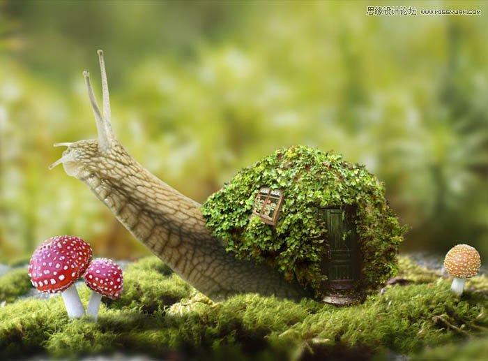 Photoshop合成創意的蝸牛背着房子場景
