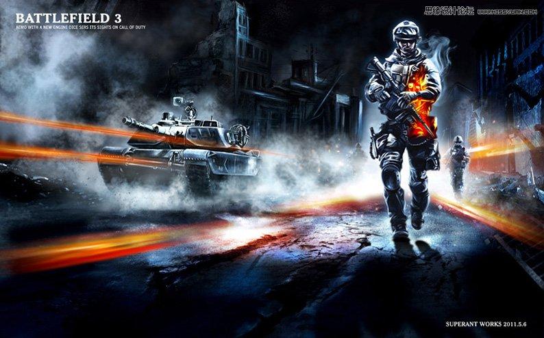 photoshop合成超酷的战争游戏场景效果