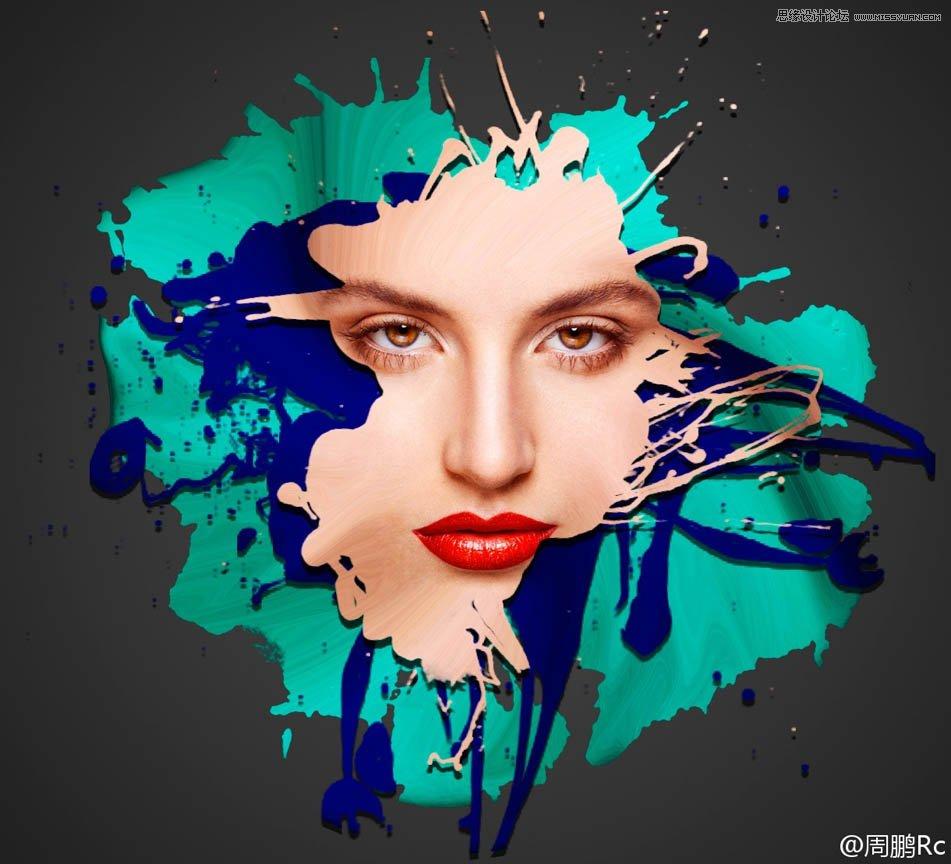photoshop创意合成油漆喷溅效果的人像效果