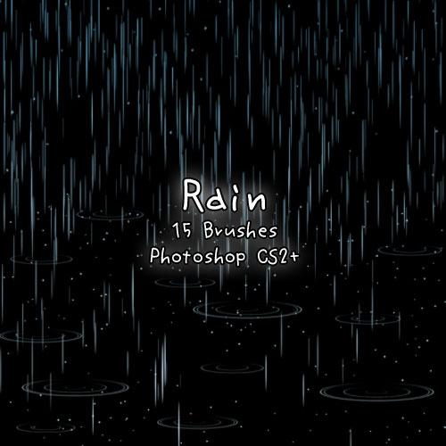 15款各种雨水和下雨效果PS笔刷