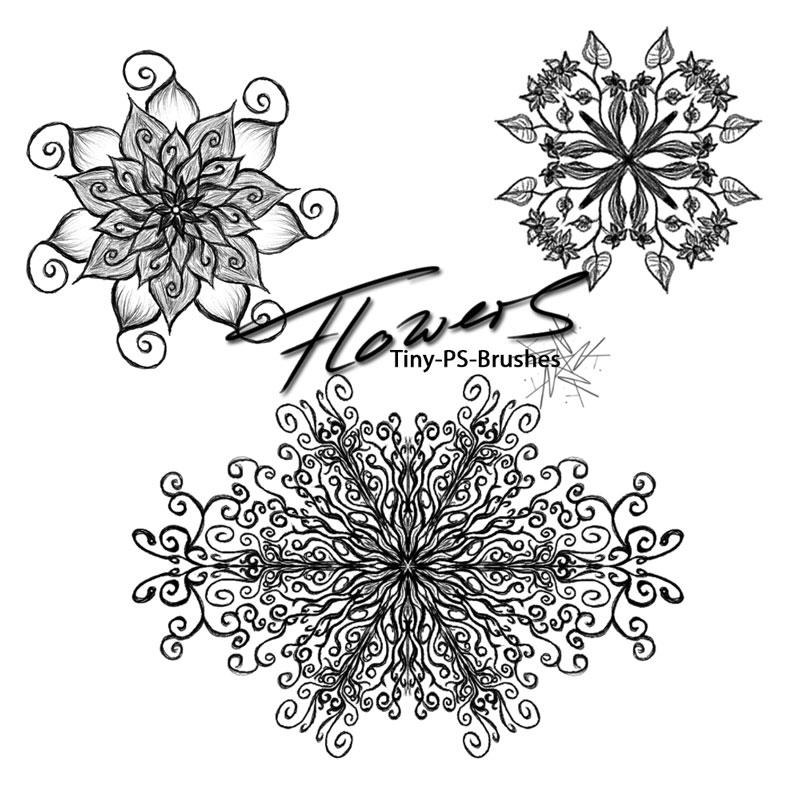 手绘创意花朵效果PS笔刷