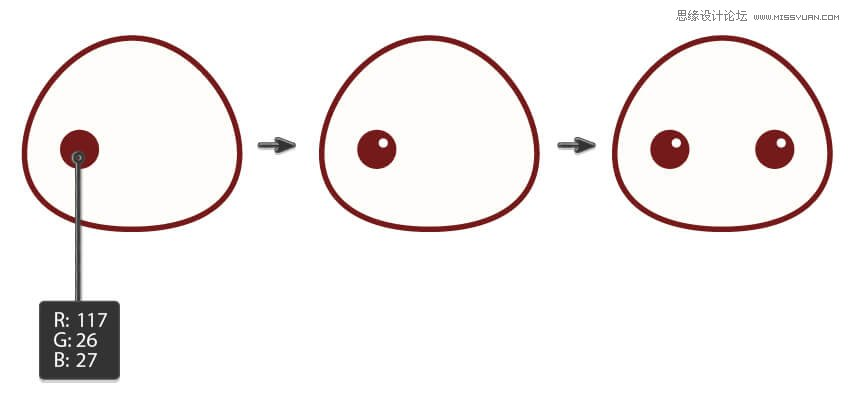 先看看效果图  1.绘制兔 步骤1 打开Adobe Illustrator中,并创建一个新文档850点¯x850像素的宽度和高度。首先,我们将开始画兔子的头。使用椭圆工具(L) ,绘制一个椭圆。在下面的图片,你可以看到你需要的填充和笔触颜色。与选择两个边锚点直接选择工具(A),并使用它们向下移动向下箭头键盘上的键。 如果您看到头顶很尖,展开椭圆锚点的顶部提手。  第2步 创建眼睛,创建使用椭圆椭圆工具(L) 。添加一个微小的白色圆圈照亮眼睛。选择这个眼睛,同时按住Shift键和Alt键的键,将它