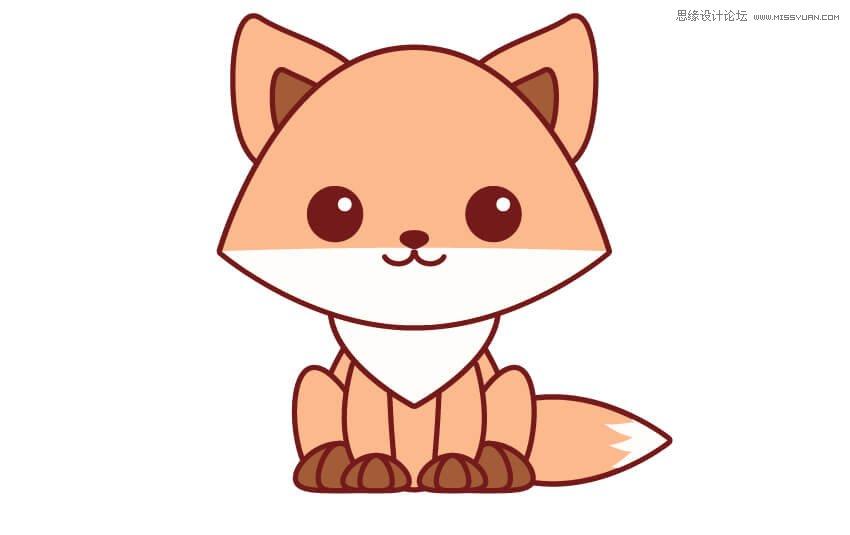 illustrator绘制简笔画风格的可爱动物图标
