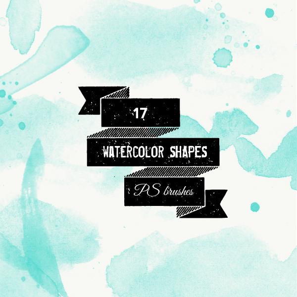 17款水彩涂抹背景PS笔刷