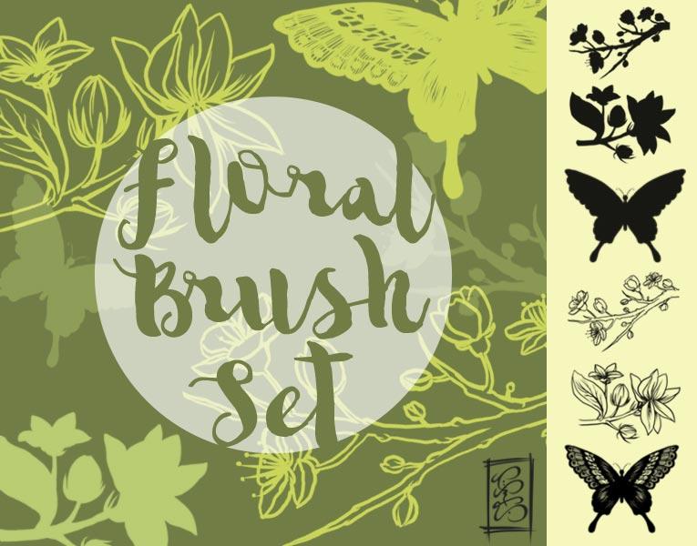 手绘花朵和蝴蝶ps笔刷