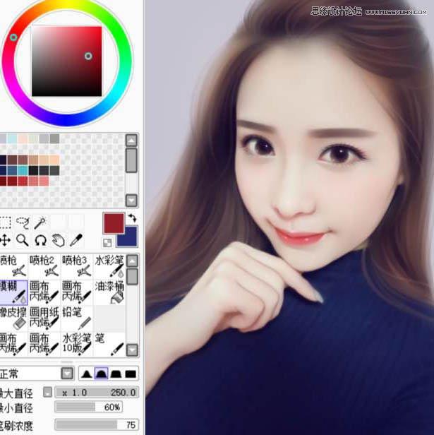 photoshop给可爱的美女照片转手绘特效,ps教程,思缘教程网
