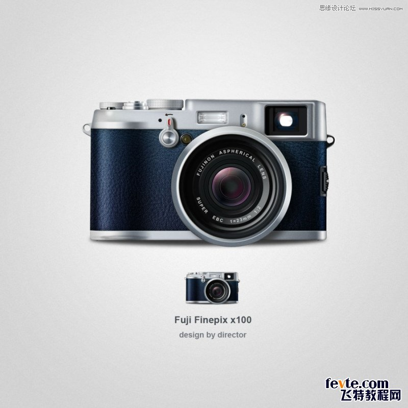 Photoshop鼠标逼真的写实Fuji相机图标