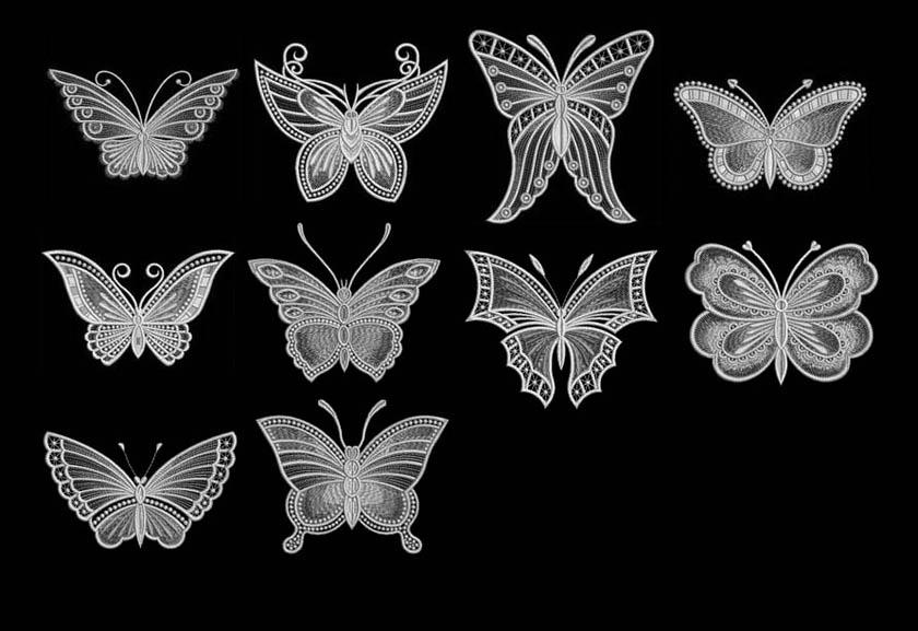 蕾丝花纹组成的蝴蝶ps笔刷