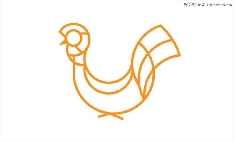 illustrator运用黄金分割绘制可爱的鸡年图标 - 矢量