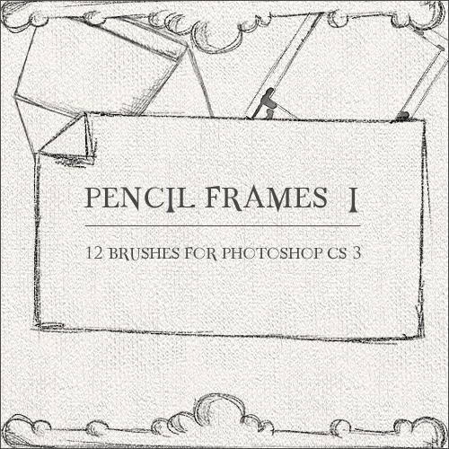 手绘铅笔画边框和纸张ps笔刷