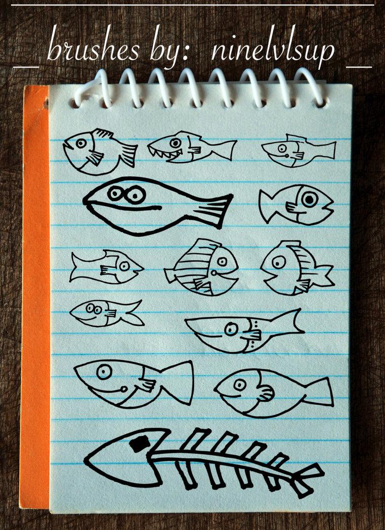 手绘涂鸦小鱼PS笔刷