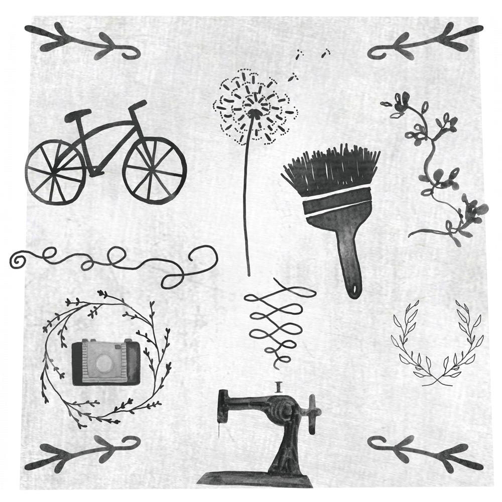 手绘花枝和自行车等PS笔刷