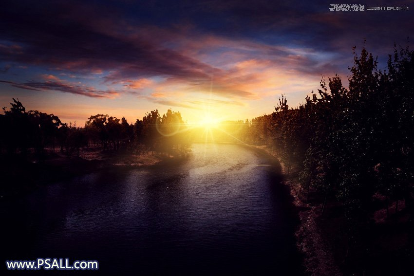 photoshop把外景河道风景照片添加唯美夕阳效果