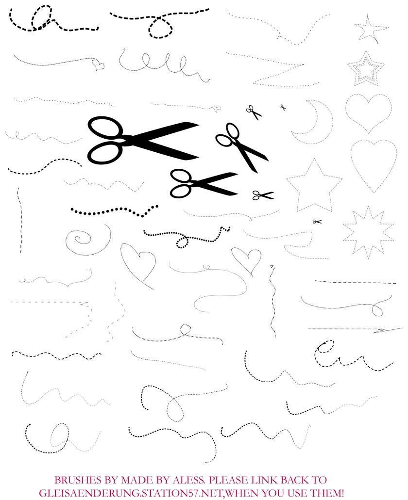 剪刀和虚线装饰PS笔刷