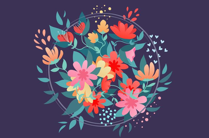 Illustrator繪製矢量風格的花叢文字效果