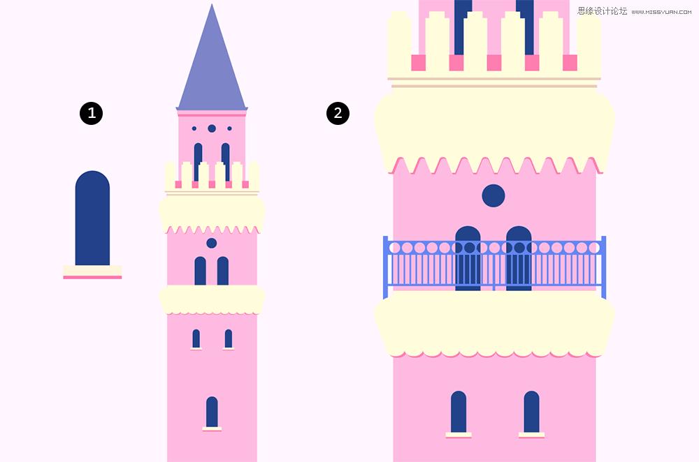 illustrator绘制梦幻卡通风格的城堡