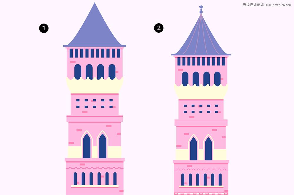 三、第四座城堡 STEP 20 第四座城堡是一个附属,因此在造型上也非常简单。其中唯一需要注意的地方是它和第一座城堡间有一定的遮挡关系和阴影,这个阴影是一个黑色的条状矩形,只是将其混合模式改为正片叠底,透明度降至30%。