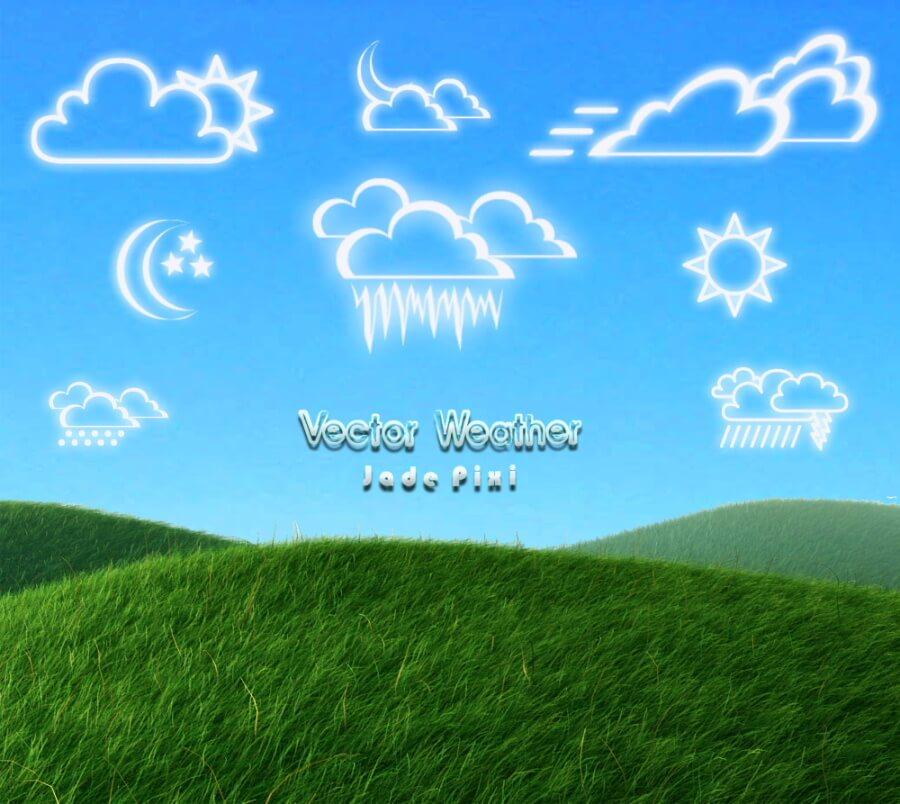 各种天气预报图标PS笔刷