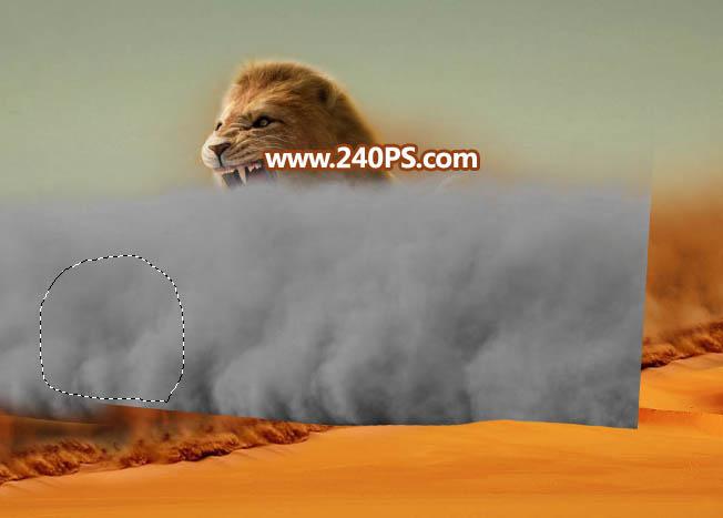 photoshop合成沙尘暴组成的狂野雄狮【附素材】