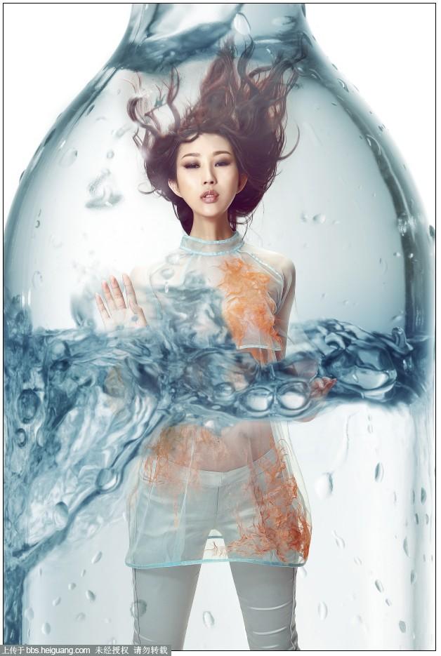 Photoshop創意合成玻璃瓶中被水淹沒的美女