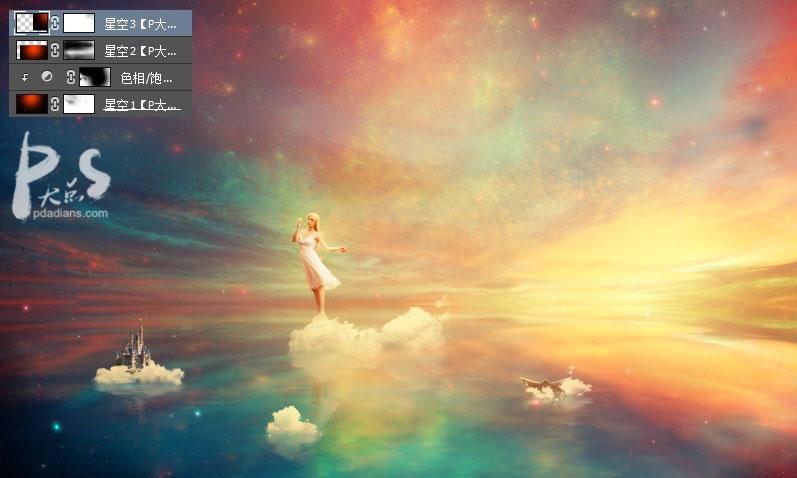 Photoshop合成站在在天空霞光中天使美女