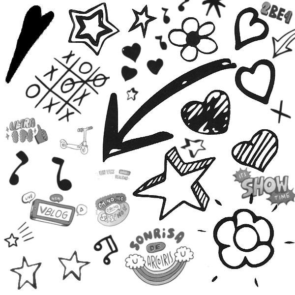 手绘涂鸦箭头五角星ps笔刷